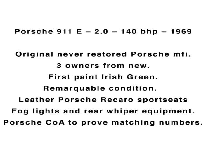 Porsche 911 E – 2.0 – 140 bhp – 1969