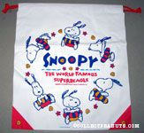 Snoopy wearing innertube 'World Famous Superbeagle' drawstring Bag