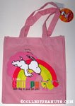 Snoopy jumping in front of rainbow Reusable Tote Bag