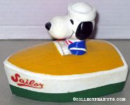Snoopy in Green and Yellow Boat