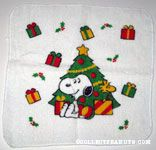 Snoopy & Woodstock by Christmas Tree Washcloth
