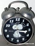Snoopy dancing Alarm Clock - Silver & Black