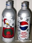 Snoopy holding gift with Woodstock on doghouse Pepsi Aluminum Bottle