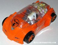 Snoopy driving orange sports car Candy Container