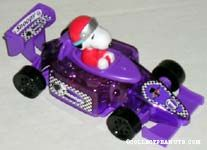 Snoopy in purple car