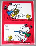 Snoopy playing horn and flute with Woodstock gift tags