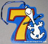 Snoopy dancing with number 7 Gift Tag