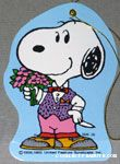 Snoopy wearing clothes and holding bouquet Gift Tag