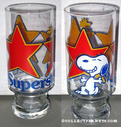 Snoopy posing on knees glass
