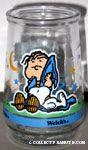 Linus and Snoopy Sleeping Jelly Jar Glass