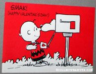 Snoopy in mailbox kissing Charlie Brown Valentine Card