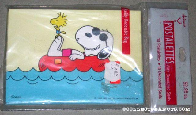 Snoopy & Woodstock laying in innertube Postalettes