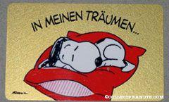 Snoopy laying on dog bed 'in meinen traumen... bin ich ganz bei dir!' Wallet Greeting Card