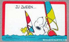 Snoopy & Woodstock parasailing 'Zu zweien... macht alles mehr spass als allein!' German Wallet Greeting Card