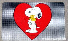 Snoopy & Woodstock hugging 'Lass dich ans herz drucken!' German Wallet Greeting Card