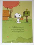 Snoopy & Woodstock at mailbox 'Right this moment, someone somewhere is thinking of you...' Hallmark Card