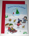 Snoopy sleeping on doghouse in stocking hat Card