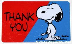 Snoopy smiling 'Thank you' Wallet Greeting Card