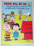 Peanuts Gang with cake Birthday Greeting Card