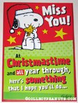 Snoopy hugging Woodstock 'Miss You' Christmas Card