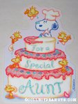 Snoopy & Woodstocks decorating cake 'Aunt' Birthday Greeting Card
