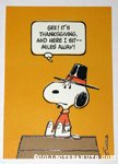 Snoopy on doghouse Thanksgiving Greeting Card
