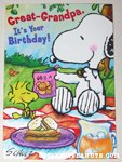 Snoopy & Woodstock having picnic 'great grandpa' Birthday Greeting Card