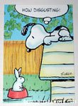 Snoopy with Bunny in dog dish Greeting Card