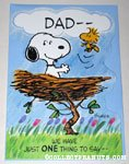 Snoopy & Woodstock in nest 'Dad' Greeting Card