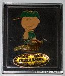 Charlie Brown in baseball uniform and 'Charlie Brown' pin set