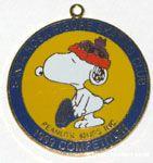 Snoopy putting on skate 'Santa Rosa Figure Skating Club 1999 Competitor' Pendant