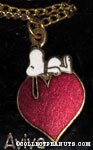 Snoopy laying on heart Necklace