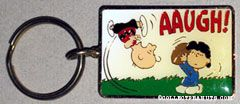 Lucy pulling football from Charlie Brown Metal Keychain