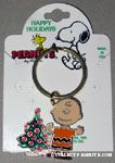 Charlie Brown standing by Christmas Tree Keychain