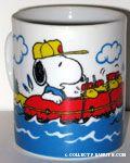 Snoopy & Woodstocks in rubber raft in the rapids Mug