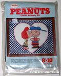 Peppermint Patty kissing Charlie Brown Crewel Stitchery Kit