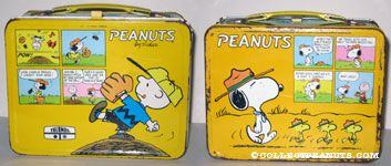 Charlie Brown on Pitcher's Mound and Cartoon Lunch Box