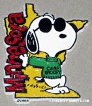 Joe Cool wearing Camp Snoopy shirt leaning on Minnesota Magnet