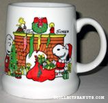 Snoopy and Charlie Brown by Fireplace