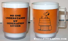 Snoopy on doghouse 'No one understands my generation either' Mug