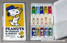 Snoopy and Woodstock Golfing Set of Miniature Markers in case