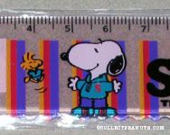 Snoopy and Woodstock in teal sweatsuits ruler