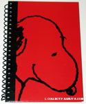 Snoopy portrait on red & black spiral Journal