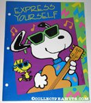 Snoopy playing guitar and Woodstock 'Express Yourself' Portfolio Folder