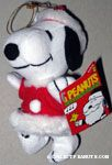 Snoopy dressed as Santa Claus Plush Ornament
