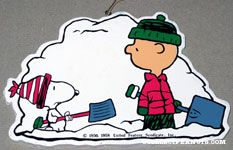 Snoopy & Charlie Brown shoveling snow Wooden Ornament