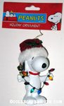 Snoopy holding string of lights Ornament