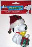 Snoopy holding Woodstock and Present Ornament