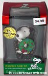 Snoopy holding wreath Holiday Clip On Ornament
