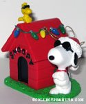 Joe Cool and Woodstock with decorated doghouse Ornament